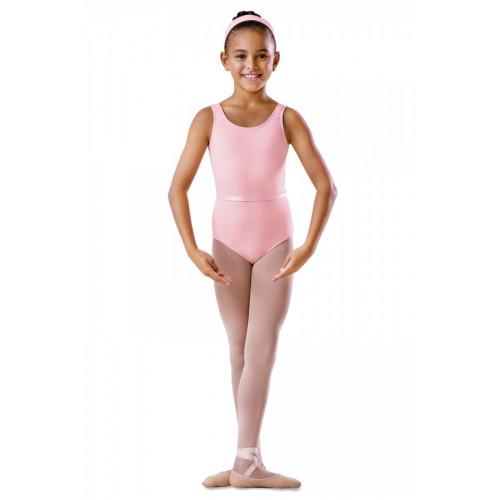 Body Bloch bambina con spalline larghe e scollo rotondo rosa