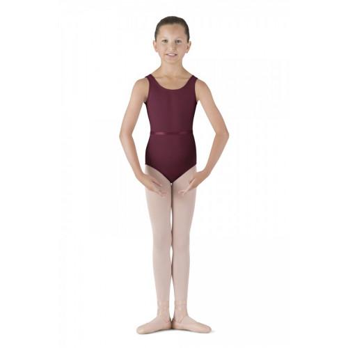 Body Bloch per bambina con spalline larghe e cintura