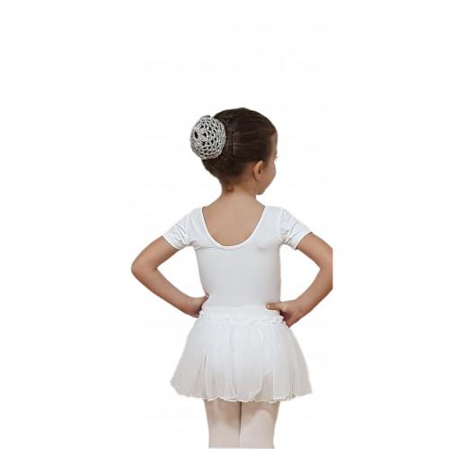 Body mezza manica con gonnellino bianco retro